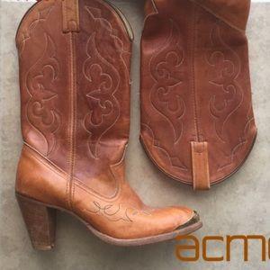 🌙🔥 Vintage ACME leather cowboy boots Rare 💞